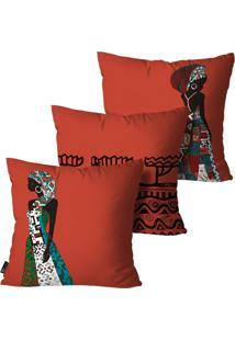 Kit Com 3 Capas Almofadas Mdecore Africana 55X55Cm Vermelho