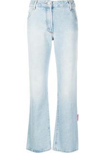 Off-White Calça Jeans Pantacourt - Azul