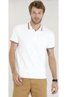 Polo Masculina Com Bordado Manga Curta Off White