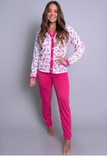 Pijamas Mvb Modas Aberto Blusa Com Botões E Calça Rosa - Kanui