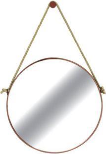 Espelho Redondo Hanoi Prata Moldura Gold 60Cm - 59989 - Sun House