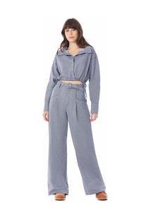 Calça Zinco Pantalona Cós Alto Com Cinto Azul