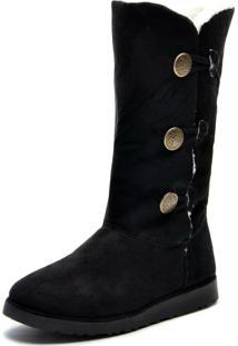 Bota Cano Médio Inverno Snap Shoes Preto