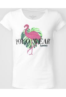 Camiseta Polo Wear Flamingo Branca - Kanui