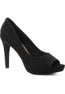 Peep Toe Shoestock Meia Pata Lurex - Feminino-Preto