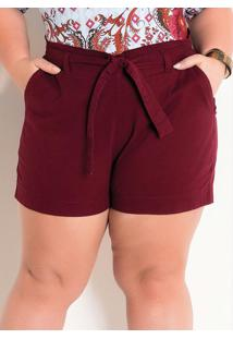 Shorts Clochard Em Sarja Bordô Plus Size