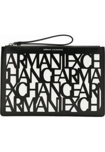 Armani Exchange Bolsa Clutch Com Logo Estampado - Preto