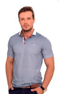 Camisa Polo Azul Claro Com Póa Vermelho - Masculino
