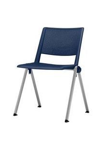 Cadeira Up Assento Azul Base Fixa Cinza - 54307 Azul