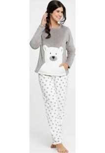 Pijama Feminino Estampa Urso Pelúcia Manga Longa Marisa