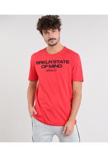"Camiseta Masculina ""State Of Mind"" Manga Curta Gola Careca Vermelha"