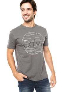 Camiseta Calvin Klein Jeans Logo Gel Cinza