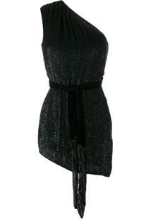 Retrofete One-Shoulder Asymmetric Dress - Preto