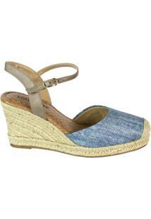 Sandália Feminina Via Marte Espadrille Jeans Holográfico 16-11304 - Feminino-Azul