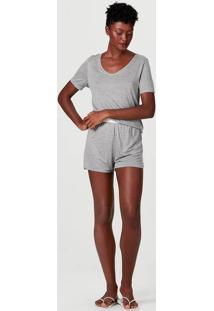 Pijama Curto Feminino Decote V