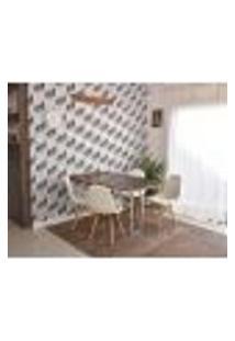 Conjunto De Mesa Dobrável Retrátil 1,40 Preto/Noronha Inox + 4 Cadeiras Botonê - Branca
