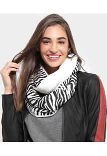 Lenço Pashmina Snood Animal Print Zebra - Feminino-Preto+Branco