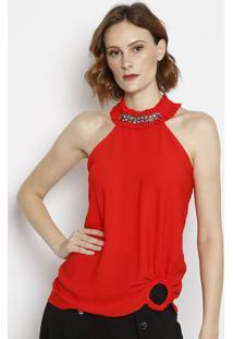 Blusa Frente Única Com Bordado- Vermelha & Prateada-Morena Rosa
