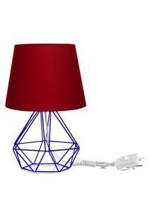 Abajur Diamante Dome Vermelho Com Aramado Azul