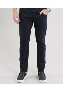 Calça Masculina Skinny Em Sarja Com Bolsos Azul Marinho