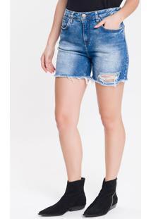 Bermuda Jeans Five Pockets Boy - Azul Médio - 34