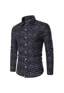 Camisa Masculina Slim Estampada - Preta