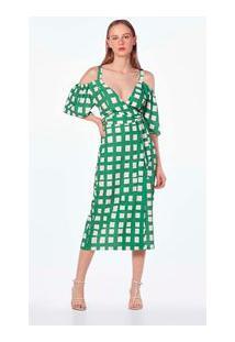 Vestido Midi Ombro A Ombro Com Faixa Verde P