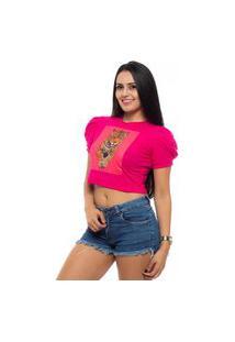 Blusa Cropped Ágata Rios Luxo Manga Princesa Tigre Pink