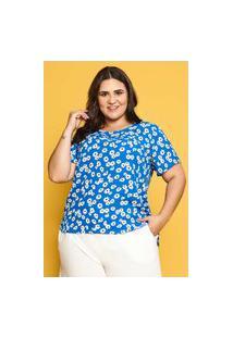 Blusa Margarida Almaria Plus Size Garage Decote Redondo Azul