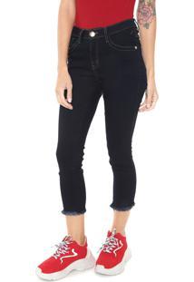 081d66acf ... Calça Jeans Denuncia Skinny Cropped Pespontos Azul-Marinho
