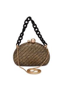 Bolsa Feminina Clutch Abaulada - Dourado