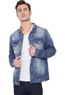 Jaqueta Jeans Acostamento Estonada Azul