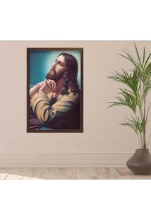 Quadro Love Decor Com Moldura Sagrado Jesus Madeira Escura Médio