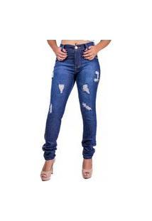 Calça Jeans Azul Escuro Rasgada Feminina Skynni Cos Alto Mania Do Jeans