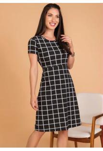 Vestido Evasê Xadrez Grid Moda Evangélica