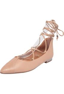 Sapatilha Piccadilly Bico Fino Lace Up Bege