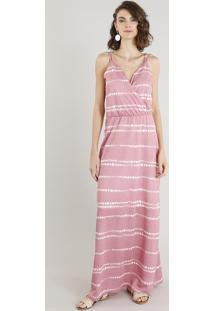 b6d6ab373 CEA. Vestido Feminino Longo Estampado Tie Dye Alça Dupla Decote V Rosa