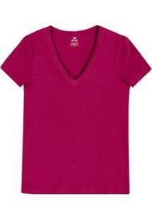 Blusa Hering Básica Decote V Com Elastano Feminina - Feminino-Pink