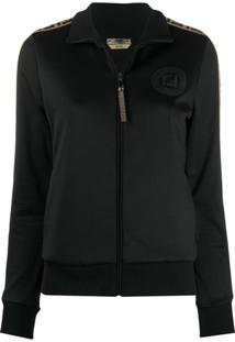 Fendi Ff Taped Sleeve Track Jacket - Preto