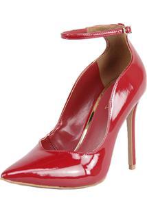 Sapato Feminino Scarpin Shepz Verniz Salto Alto Bico Fino Ajuste Nos Tornozelos Vermelho - Kanui