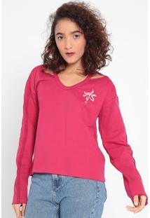 Blusão Em Moletom Com Vazado- Rosa & Rosa Claro- Malmalwee