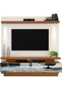 Estante Home Theater Para Tvs Até 70 Polegadas, Off White Com Carvalho Americano, Axel