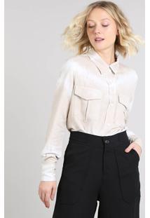 Camisa Feminina Mindset Tie Dye Com Bolsos Manga Longa Bege Claro