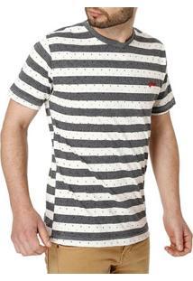 Camiseta Manga Curta Masculina Cinza/Bege