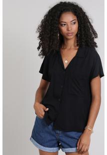 Camisa Feminina Ampla Com Bolso Manga Curta Preta