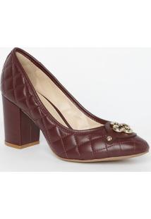 Sapato Tradicional Em Couro Matelassãª- Vinho- Salto:Capodarte