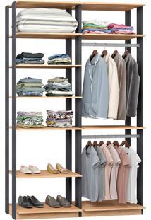 Closet Modulado C/ 2 Cabideiros Clothes 9010 – Be Mobiliário - Carvalho Mel / Espresso