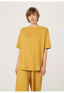 Blusa Básica Feminina Em Algodão Supima Amarelo