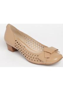 Sapato Tradicional Em Couro Com Microfuros - Bege - Jorge Bischoff