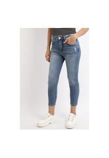 Calça Jeans Feminina Cropped Com Puídos Cintura Alta Azul
